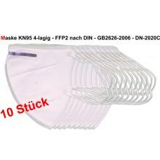 10 Stück Actika KN95/FFP2 wiederverwendbare 4 schichtige Feinstaubmaske Mund-Nasen-Schutz