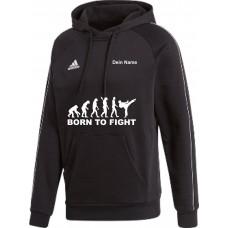 adidas Premium Hoodie in schwarz mit deinem Namen und dem Motiv -Evolution Born to Fight-
