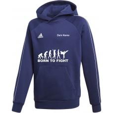 adidas Premium Hoodie in blau mit deinem Namen und dem Motiv -Evolution Born to Fight-