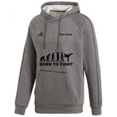 adidas Premium Hoodie in grau mit deinem Namen und dem Motiv -Evolution Born to Fight-