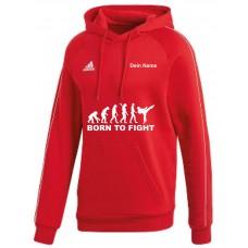 adidas Premium Hoodie in rot mit deinem Namen und dem Motiv -Evolution Born to Fight-