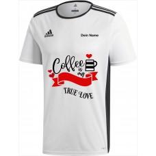 Original adidas premium T-Shirt -Coffee is my true Love- weiß