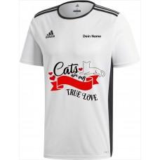 Original adidas premium T-Shirt -Cats are my true Love- weiß