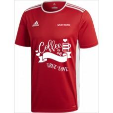 Original adidas premium T-Shirt -Coffee is my true Love- rot