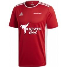 """adidas T-Shirt/Jersey rot mit Motiv """"Karate Girl"""" und deinem Namen"""