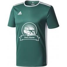 "adidas T-Shirt/Jersey grün mit Motiv ""VW Bulli Highlight"" und deinem Namen"