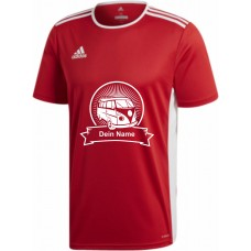 "adidas T-Shirt/Jersey rot mit Motiv ""VW Bulli Highlight"" und deinem Namen"