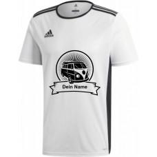 """adidas T-Shirt/Jersey weiß mit Motiv """"VW Bulli Highlight"""" und deinem Namen"""