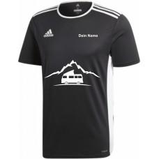 """adidas T-Shirt/Jersey schwarz mit Motiv """"VW Bulli Camper Berg"""" und deinem Namen"""