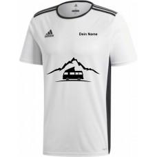 """adidas T-Shirt/Jersey weiß mit Motiv """"VW Bulli Camper Berg"""" und deinem Namen"""