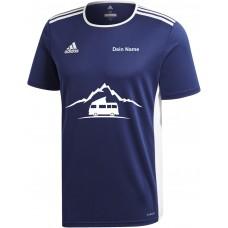 """adidas T-Shirt/Jersey blau mit Motiv """"VW Bulli Camper Berg"""" und deinem Namen"""