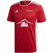 """adidas T-Shirt/Jersey rot mit Motiv """"VW Bulli Camper Berg"""" und deinem Namen"""