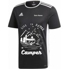 """adidas T-Shirt/Jersey schwarz mit Motiv """"Life is Better in a Camper"""" und deinem Namen"""