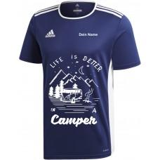 """adidas T-Shirt/Jersey dunkelblau mit Motiv """"Life is Better in a Camper"""" und deinem Namen"""
