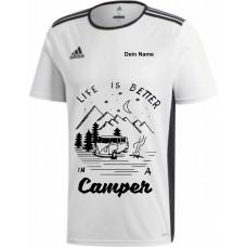 """adidas T-Shirt/Jersey weiß mit Motiv """"Life is Better in a Camper"""" und deinem Namen"""